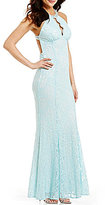 Morgan & Co. Beaded Scalloped Choker Neckline Glitter Lace Open-Back Long Trumpet Dress