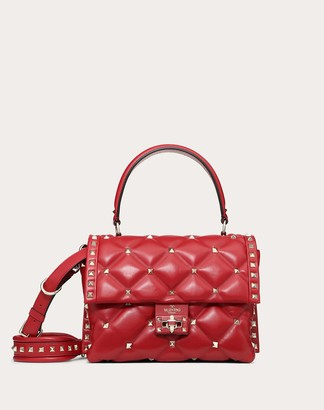 Valentino Garavani Medium Candystud Nappa Leather Handbag Women Rosso Lambskin 100% OneSize