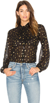 Maison Scotch Sheer Star Tie Neck Blouse