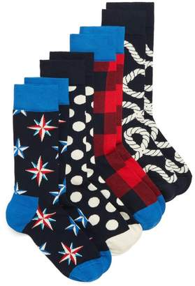 Happy Socks Nautical 4-Pack Box Set Socks