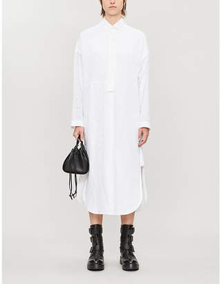 Loewe Broderie anglaise cotton and linen-blend midi shirt dress