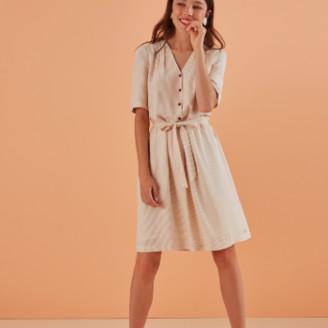 Des Petits Hauts Ecru Sabina Short V Neck Dress - 3