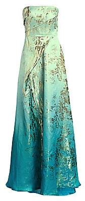 Rene Ruiz Collection Women's Metallic Graphic Ruched Strapless A-Line Gown