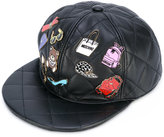 Moschino badge applique quilted snapback - women - Sheep Skin/Shearling/Viscose - S