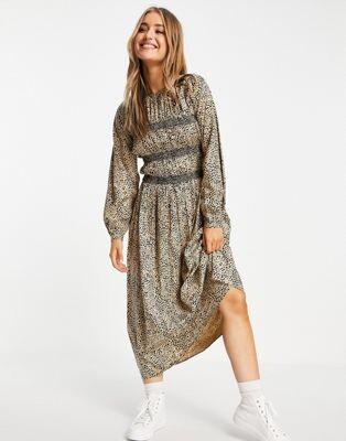 ASOS DESIGN long sleeve shirred midi dress in animal print