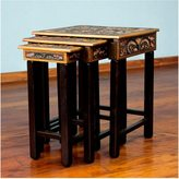 Novica Bird of Paradise Set Of 3 Artisan Handmade Hand Tooled Leather Brown Mohena Wood Home Decor Furniture Accent Side Tables (Peru)
