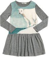 Nice Things Bear Print Wool & Crepe Blend Dress