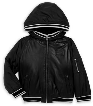 Dolce & Gabbana Little Boy's & Boy's Hooded Leather Jacket
