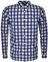 Fred Perry Tartan Gingham Mix Check Shirt Blue