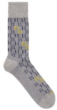 HUGO BOSS Regular Length Socks With Two Tone Monogram Pattern - Black