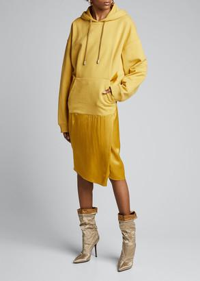 Fenty Satin-Skirt Hoodie Dress, Mustard