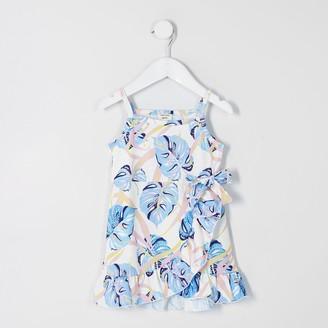 River Island Mini girls White printed frill wrap dress