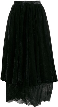 Romeo Gigli Pre Owned 2000's velvet layered skirt
