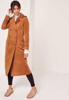 Missguided Premium Military Faux Wool Maxi Coat Tan