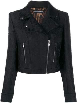 Dolce & Gabbana cropped jacquard biker jacket
