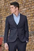Mens Next Navy Skinny Fit Flannel Suit: Jacket - Blue