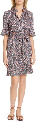 Rebecca Taylor Twilight Ditsy Floral Silk Blend Shirtdress