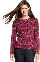 Charter Club Top, Long-Sleeve Pima Cotton Floral-Print Tee