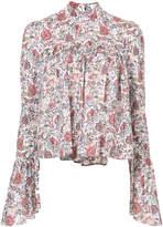 Caroline Constas floral ruffle sleeve blouse