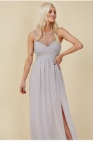 Thumbnail for your product : Little Mistress Bridesmaid Sofie Dusty Blue Embellished Maxi Dress
