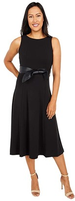 Calvin Klein Midi Dress with Faux Leather Belt (Black) Women's Dress
