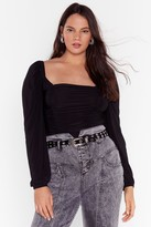 Nasty Gal Womens Don't Want to Be Ruched Plus Square Neck Bodysuit - black - 22