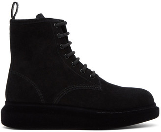 Alexander McQueen Black Suede Flocked Sole Hybrid Boots