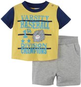 Absorba Varsity Baseball Shorts Set (Baby) - Yellow/Grey-6-9 Months