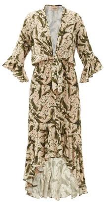 Adriana Degreas Ruffled Floral-print Crepe Dress - Green Print