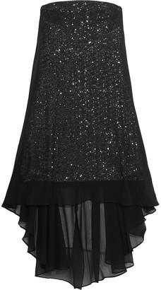 Halston Layered Sequined Chiffon Mini Dress