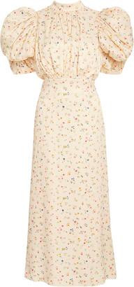 Rotate by Birger Christensen Dawn Floral Puff-Sleeve Midi Dress