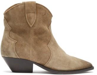 Isabel Marant Dewina Suede Western Ankle Boots - Beige