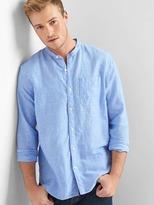 Gap Linen-cotton band collar standard fit shirt