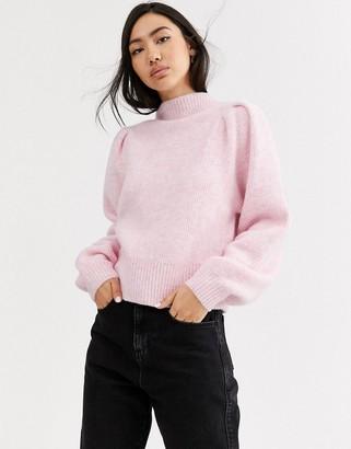 Weekday Sadie high neck jumper in pink