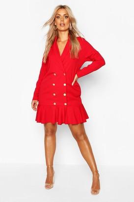 boohoo Plus Blazer Frill Hem Dress