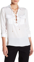 Laundry by Shelli Segal Collared Lace-Up Blouse