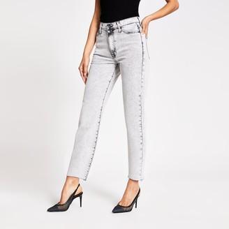 River Island Womens Grey Blair high rise straight jeans