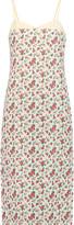 Nina Ricci Poplin-trimmed floral-print silk-taffeta midi dress