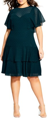 City Chic Metallic Textured Dot Ruffle Dress