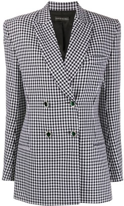 David Koma Crystal-Button Houndstooth Blazer