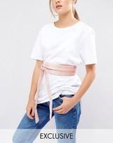 Glamorous Obi Belt in Blush Velvet
