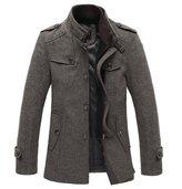 Win8Fong Men's Thick Wool Winter Coat