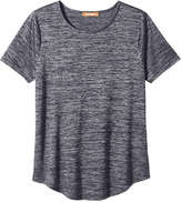 Joe Fresh Women's Sheer Metallic Tee, JF Midnight Blue (Size XL)