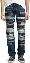 PRPS Horizontal-Patchwork Relaxed-Slim Jeans, Indigo
