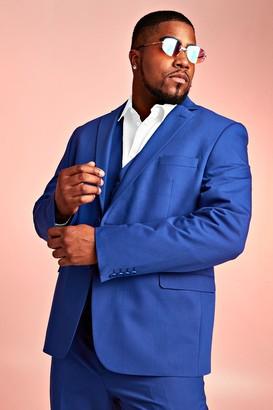 BoohoomanBoohooMAN Mens Blue Big & Tall Skinny Fit Suit Blazer, Blue