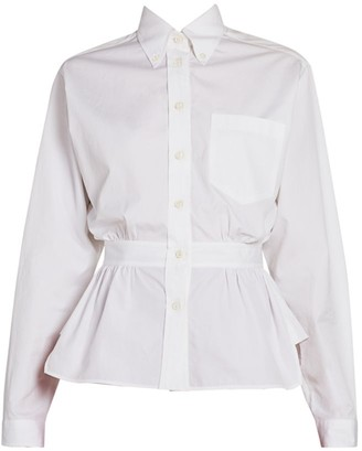 Prada Cotton Poplin Peplum Shirt