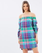 Polo Ralph Lauren Plaid Off The Shoulder Dress
