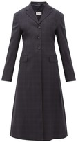 Maison Margiela Single-breasted Windowpane-check Wool-blend Coat - Womens - Navy Multi