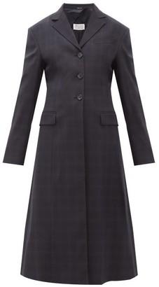 Maison Margiela Single-breasted Windowpane-check Wool-blend Coat - Womens - Navy Multi