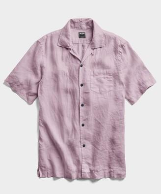 Todd Snyder Short Sleeve Linen Camp Collar Shirt in Lavender
